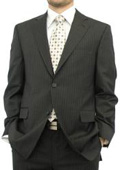 Chocolate Brown Pinstripe • Single Breasted 2 Button No Vents 100% Fine Wool $139