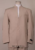 Split Collar Highest Quality Shoulder Mens Black Mandarin Collar Two Button Suit $249
