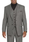 Light Gray 2 Button Vested 100% Wool Feel Poly Rayon Mens three piece suit Notch lapel $179