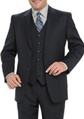 High Quality Navy Blue 2 Button Vested 100% Wool Mens Suits Notch lapel Vented $159