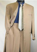 SKU# MUHM45GA Tan ~ Beige/Taup/khakii Matrix Style 45 Icnh Full Length Mandarin Collar 10 Button (5 x 2 Pair )