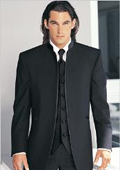 SKU#M27 Fitted Slim Fitc Cut Mirage Tuxedo Satin Mandarin Collar (Solid Black ) No Buttons