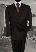 Brand New chocolate Brown Pinstripe Double Breasted Super 120's Wool Feel Poly~Rayon Soft Durable Fabric Double Vented $179