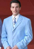 Beautiful Mens Sky Blue Color 3 Button Style Jacket.