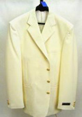 SKU#ZD4 3/4 Button Off White~Ivory Mens Dress Blazer With Metal Buttons In 7 Colors $125