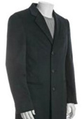 SKU#DUMO33 38 Inch Three-Button Notched Lapel Navy Blue Wool-Blend 3 Buttons Overcoat $175