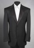 Men'sSKU#LL2 Black Tuxedo 1 One Button Notch Tuxedo Suit $115
