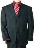 Mens 3 Buttons Conservative Black Pinstripe Super 140 Wool $225 Compare at $995