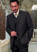 SKU:SKU16514 TS-3V NICE 3PC 3 BUTTON SOLID COLOR CHARCOAL GERY MENS three piece suit
