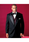Mens 2 Buttons Tuxedo 2 Buttons Tuxedo Jacket + Pants Satin Notch Lapel Single Breasted $79