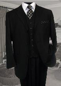 SKU:SKU5712 TS-3V NICE 3PC 3 BUTTON SOLID COLOR BLACK MENS three piece suit