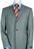 3 Buttons premier quality italian fabric Mens 3 Buttons Light Gray Pinstripe Super 140's