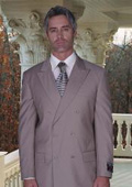 SKU# AMS455 JPR-27 CLASSIC DOUBLE BREASTED SOLID COLOR Tan ~ Beige MENS SUIT $199
