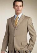 SKU# Zt8 Tan ~ Beige/Bronz Super 140's Wool 3 Button Men's Suits