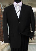 MENS SOLID COLOR BLACK SUIT 2 BUTTON HAND STITCHING $295