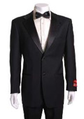 Black 2 Button Wool Tuxedo 1 Pleated Pants $199