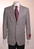 SKU#PH611 Men's Jacket/Blazer Gray Basketweave 2 Button Vented Wool $139