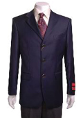 SKU#GH411 Men's 3 Buttons Navy Blue Wool Jacket/Blazer $159
