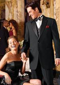 2 BUTTON MENS BLACK TUXEDO WITH NOTCH LAPLE IT A BEAUTY FOR ANY WED $175