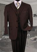 SKU#SE349 TS-33 Signature Platinum Stays Cool Tailored BROWN EXTRA FINE SUPER 150'S SUIT TONE ONTONE STRIPE 3PC WITH A VEST $179