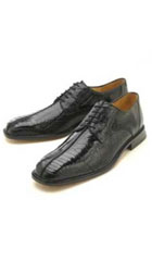 Oxfords Black Ostrich/Lizard Lace-Up