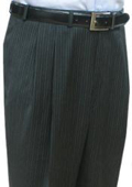 Super Quality Dress Slacks / Trousers Charcoal Multi Stripe Double Reverse Pleat Men's Pants $95