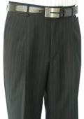SKU#BNC723 Super Quality Dress Slacks / Trousers Black Stripe Pleated Open Bottom Pants