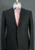 Men's 2 Button Darkest Charcoal Gray Dress Wool Suit $139