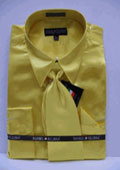 SKU#JD113 Men's New Gold Satin Dress Shirt Tie Combo Shirts