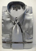 SKU#PL222 Men's New Silver Satin Dress Shirt Tie Combo Shirts
