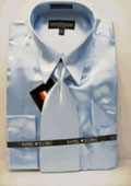 Men's New Light Blue ~ Sky Blue Satin Dress Shirt Tie Combo Shirts $59