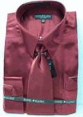 Men's New Wine/Burgundy ~ Maroon ~ Wine Color Satin Dress Shirt Tie Combo Shirts $59