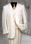 SKU#AM901 Ivory~Off White~Cream 3 Button three piece suit With a Vest Hand Made
