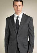 2 Button Peak Lapel Suit Dark Charcoal Gray tapered slim fitted cut $139