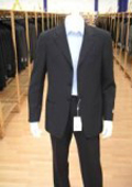 Men's Navy Blue Men's Single Breasted Discount Cheap Dress 3/4 Button Cheap Suit $79