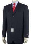 SKU 89L Navy Blue Wool Blend 3 Button Mens Suit 79