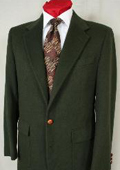 SKU#1827 Hunter Green Antique Brass Crest Buttons Blazer Natural Shoulders (Men + Women) $179