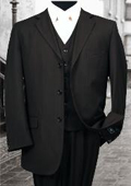 SKU#PS323 Nice 3PC 3 Button Tone on Tone Black Mens three piece suit With a Vest