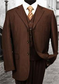 Nice 3PC 3 Button Brown Pinstripe Mens three piece suit With a Vest $179