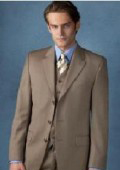 Beige~Tan ~ Beige Vested 3 Piece Premier Quality Italian Fabric Fine Quality Poly~Rayon (Wool Feel) 3 Button three piece suit $165