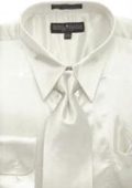 SKU#AG442 Men's Ivory Shiny Silky Satin Dress Shirt/Tie