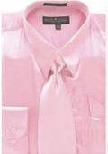 SKU#DS565 Men's Pink Shiny Silky Satin Dress Shirt/Tie