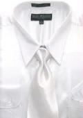 SKU#AK124 Men's White Shiny Silky Satin Dress Shirt/Tie