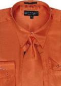 SKU#UH122 Men's Orange Shiny Silky Satin Dress Shirt/Tie