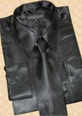 SKU#MS453 Satin Black Dress Shirt Tie Hanky Set