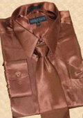 SKU#HU811 Satin Brown Dress Shirt Tie Hanky Set