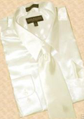 Satin Cream Ivory Dress Shirt Tie Hanky Set $59