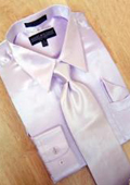 Satin Lavender Dress Shirt Tie Hanky Set