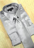 SKU#PW782 Satin Silver Grey Dress Shirt Tie Hanky Set