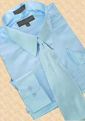 Satin Light Blue ~ Sky Blue Dress Shirt Tie Hanky Set $59